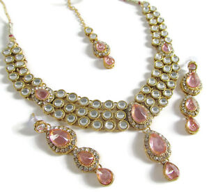 Indian Bollywood Ethnic Pink Kundan Choker Necklace Earrings Tikka Jewelry Set