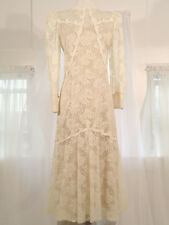 Vintage Lace Wedding Dress Handmade Beige Gold Lace Juliette Sleeve Size 12 Gown