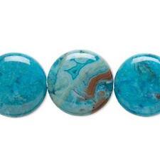 1441 Crazy Dentelle Agate Plat Pièce perles bleu 16 mm 16 in (environ 40.64 cm) * UK boutique eBay *