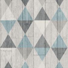 Vlies Tapete skandinavisch Holzoptik Paneele Rauten Karo Muster türkis blau grau