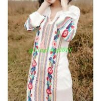 Hot Sale Womens Cotton Linen GownBlack White Embroidered Casual Floral Dress SZ