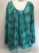 Plus 3X DAISY FUENTES Woman Blouse Peasant Shirt Top Flowy Long Sleeve Teal Blue