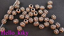 400 Antiqued copper plt beaded barrel spacer beads A279