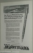 1929 Watermans Fountain Pen advertisement, with Trimotor airplane, Ford Stinson