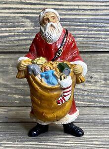 "Christmas Decoration Plastic Santa 6"" Figurine Toy Bag Stocking"