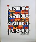 MORDECHAI ROSENSTEIN SERIGRAPH 1985 SIGNED NUMBERED PURSUE JUSTICE JUDAIC JEWISH