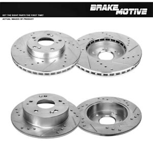 Front+Rear Drill And Slot Brake Rotors For 1998 1999 2000 2001 2002 Honda Accord