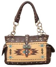 WESTERN EXPRESS Brown Aztec Design - Turquoise & crystal studs 13.5 x 4 x 9