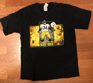 """Pittsburgh Steelers """"Thanks For The Ride Bus"""" Large T-Shirt"""