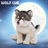 Cute Lifelike Wolf Cub Plush Toy Soft Stuffed Wolf Pup Doll Kids Christmas Gift