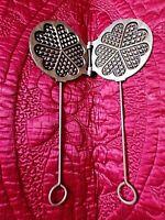 Ancien moule à gaufre forme coeur/gaufrier rond de cheminée en fonte-déco chalet
