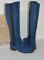 New $298 Free People Callow Indigo Blue Tall/Knee High Boots Distressed Suede 6