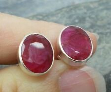 925 Silver Cut RUBY Stud Earrings E355~Silverwave*uk Jewellery