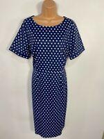 WOMENS DOLLY & DOTTY NAVY POLKA DOT 50'S VINTAGE ROCKABILLY PENCIL DRESS UK 16