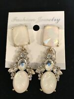 Shoulder Duster Faux Pearl & Diamond Costume Jewelry Earrings