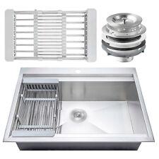 "30"" x 22"" x 9"" Stainless Steel Drop In Top Mount Kitchen Sink Tray Strainer Set"