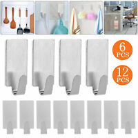 12/6x Self Adhesive Hooks Stainless Steel Strong Sticky Stick on Wall Door Hang