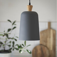 Pendant Ceiling Light Modern Scandi Grey Wood Metal Over Counter Bar Lamp Shade