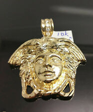 Men's 10k Yellow Gold Versachi Head ,Diamond Cuts,Stones In the Hook Charm A12B8