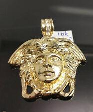 Men's 10k Yellow Gold Versachi Head ,Diamond Cuts,Stones In the Hook Charm A12B8