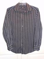Claiborne Men's Dress Shirt Size Medium Black Striped Long Sleeve Button Down