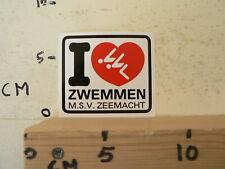 STICKER,DECAL I LOVE ZWEMMEN SWIMMING M.S.V. ZEEMACHT