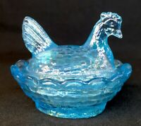 Boyd Art Glass Covered Rooster / Chick Salt Sea Mist Carnival #209 5-30-2007