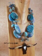 Western Cowgirl Necklace Set Chunky Blue Agate - Hand Painted Texas Longhorn