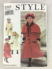 UNCUT Style 2353 Sewing Pattern Child Coat Cape Hat Size A (3-8) 19 Pieces