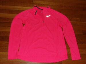 NIKE DRI-FIT 1/2 ZIP LONG SLEEVE PEACH REFLECTIVE RUNNING TOP WOMENS MEDIUM EXC