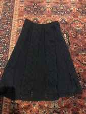 Loft Black Crochet Skirt Vintage Style Knit