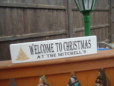shabby vintage chic christmas welcome family home plaque sign xmas free standing