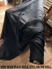 """1 METRE OF 115"""" WIDE, BLACK VOILE FABRIC. CURTAIN VALANCE SWAG SHEER TABLE DRESS"""