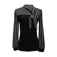 Damenbluse Stehkragen Blus T-shirt Hemd Streifen Shirt TOP Gr. M Schwarz R7B2