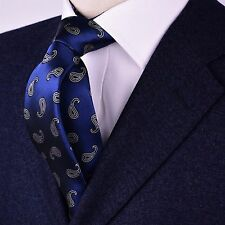 Gold Series Designed in Italy Paisley Woven Tie, Navy With White Color Paisley