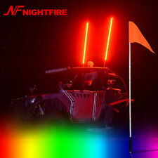 Night Fire 1× 5FT RGB LED Antenna Whip Light ATV Safety Flag Buggy Whip UTV Whip