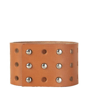 59724 auth HERMES Naturel brown Vache Bride leather PERFORATE CUFF XS