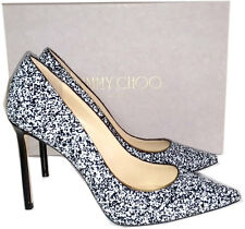 Jimmy Choo Romy Pointy Toe Pump Black White Glitter Heels Shoes 37.5