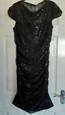 PHASE EIGHT BLACK SEQUIN RUCHED PARTY DRESS SIZE 16 RRP £130
