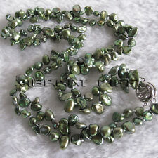 "18"" 4-6mm Dark Green 2Row Keshi Freshwater Pearl Necklace Jewelry UE"