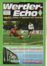 BL 91/92 SV Werder Bremen - Eintracht Frankfurt