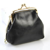 Women Genuine Leather Kiss Lock Coin Wallet Vintage Retro Purse Change Lady Bag