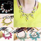 New Fashion Women Hot Chain Crystal Flower Jewelry Bib Choker Statement Necklace