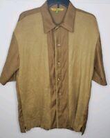 Silversilk Mens Short sleeve gold  Button Down Silk Blend Shirt Sz Medium-Shirt