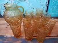 ANCHOR HOCKING MILANO GLASS AMBER PITCHER 96 OZ GLASS SET VINTAGE - 10 PIECES