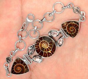 "15g ""Fossil"" Ammonite & Herkimer Diamond 925 Silver Bracelet SB16507"