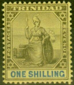 Trinidad 1904 1s Black & Blue-Yellow SG141 Fine Mtd Mint