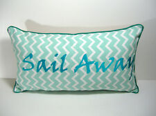 Beach House Coastal Pillow, Sail Away, Rectangle, Aqua, New