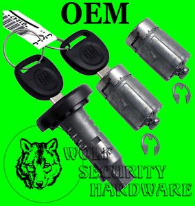 GM Ignition Key Switch Lock Cylinder & Door Pair Tumbler Barrel Set 2 GM Keys