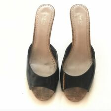 Cork Sole Patent Leather Heels Mules Charles David